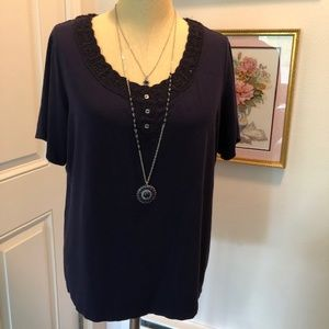 """BUNDLE ME"" Anne Klein Navy Shirt"